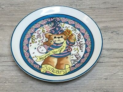 "VTG Enesco Lucy Rigg ""Lucy and Me"" Bear Small Plate Month January New Year Blue"