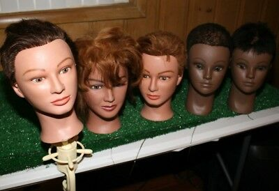 Lot 5 Cosmotology Mannequin Heads + 1 Clamp Clic Marianna Various