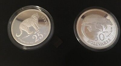 1975 SILVER VENEZUELA PROOF CONSERVATION Armadillo  And Tiger Coin