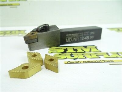 """Ultra Dex Indexable Turning Tool Holder 3/4"""" Shank Mdl Mdjnr-124B + New Inserts"""