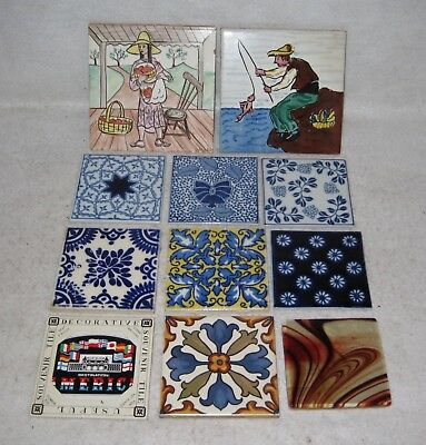 Lot of 11 Decorative Tiles Art