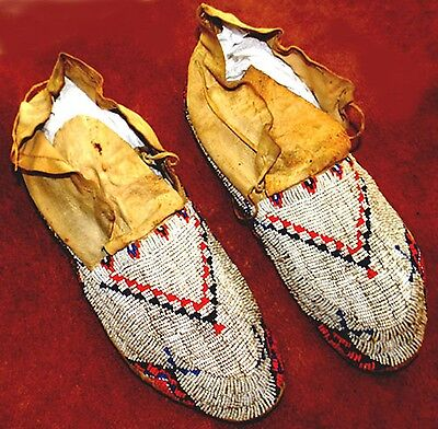 """Vintage Circa 1920 Antique 11"""" Native American Sioux Indian Beaded Moccasins"""