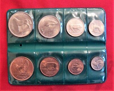 1966 Coins Of Ireland Original 8 Coin Set (Farthing to 1/2Crown) in Green Wallet