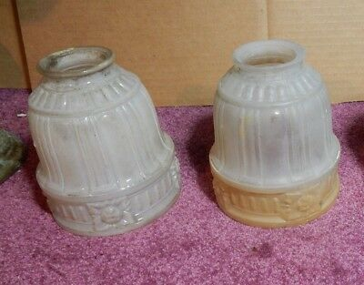 Antique Frosted Glass Vintage Lamp Shades 2 1/2 Inch