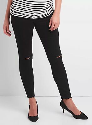 NWT H 2017 GAP MATERNITY FULL True Skinny Destruced Black ANKLE JEANS 29 reg 8 R
