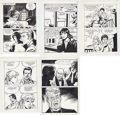 Lot of Italian Original Comic Art  [5 Pages in Total] Horror Image Melting Face