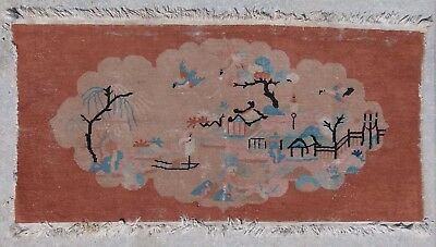 Nichol's Art Deco Chinese Pictorial Rug Carpet Mat Worn For Restoration AS IS
