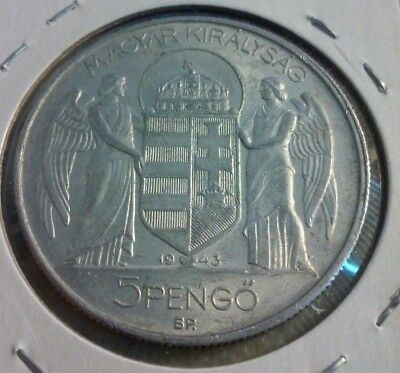 1943 HUNGARY 5 PENGO Coin - KM#523  (#IN1321)