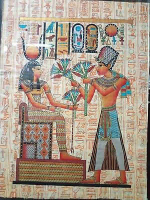 RARE ANCIENT EGYPTIAN PAPER Papyrus Painting Osiris and Hathor 1560 Bc
