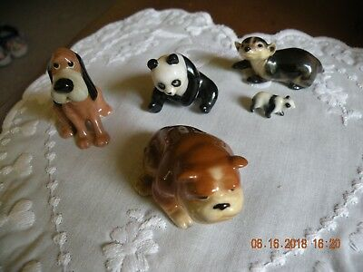 Miniature Bone China Animal Figurines - Two Pandas, Two Dogs, Badger - 5 Pieces