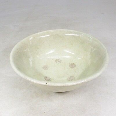 B909: Korean tea bowl of pottery with popular KOBIKI glaze of Joseon style