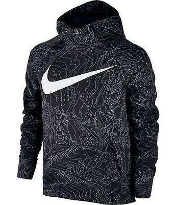 NIKE Boys Therma Allover Print Black/White Hoodie ~ NWT ~ Small MSRP $50