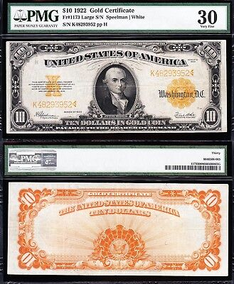 AWESOME Bold & Crisp VF+ 1922 $10 *GOLD CERTIFICATE*! PMG 30! FREE SHIP 48293952