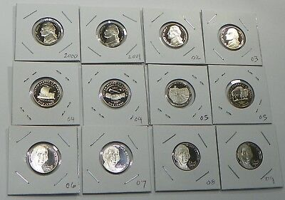 2000 - 2009 S Proof Jefferson Nickel 12 Coin Set