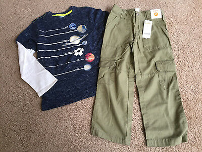 Gymboree Star Brights Planet Top/Olive pants size 5 6 NEW NWT 2pc