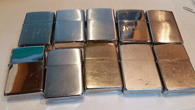 Nice 10 pc Zippo Cigarette Lighter lot all in working order with good wicks