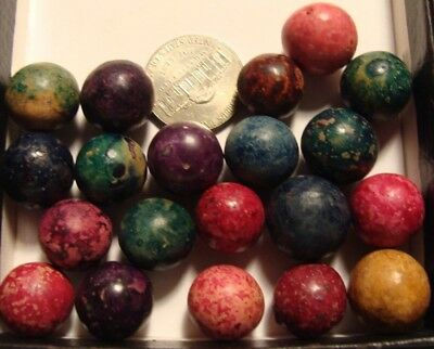 20 Old Marbles Vintage Dyed Clay Antique American Made Red Purple Green Nice