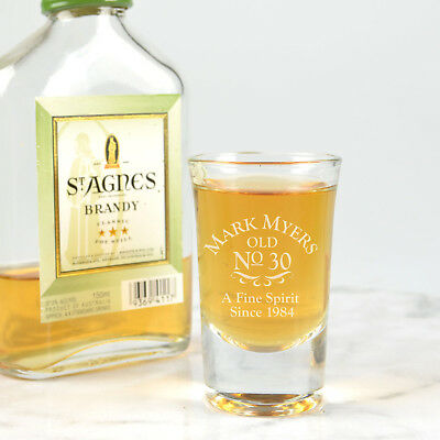 Personalised Birthday Engraved 40ml Shot Glass Party 18th 21st 30th 40th 50th 60