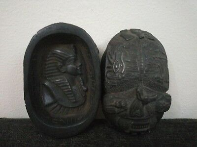 RARE ANCIENT ANTIQUE EGYPTIAN Stone Statue Scarabs with Anubis Hold Tutankhamun