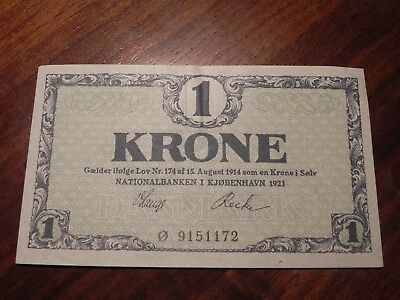 Denmark 1 Krone Banknote 1921 About Uncirculated Condition