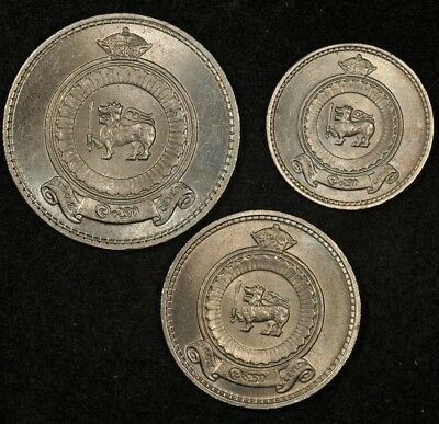 1963 Ceylon 25 Cents, 50 Cents, Rupee (3-Coin Lot Uncirculated)