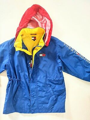 Vintage 90s TOMMY HILFIGER Color Block Big Flag Spell Out Jacket - Youth Sz 7