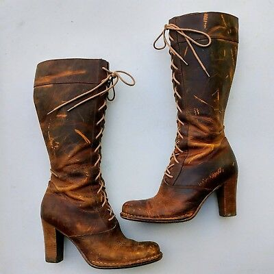 Vintage Boho FRYE 77610 VILLAGER LACE Golden Brown DISTRESSED LEATHER BOOTS SZ10