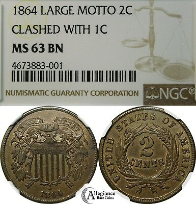 1864 2c Two Cent Piece NGC MS63 REVERSE CLASHED w/ INDIAN HEAD PENNY rare coin