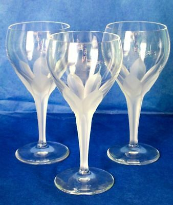 "JOSEPHINE HÜTTE Crystal Art Deco Set of 8 Hand Cut Crocus Stem 6"" Wine Glasses"
