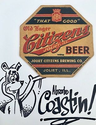 1930's Citizens Beer-Brewing Co-Absorbo Coaster-Joliet Illinois