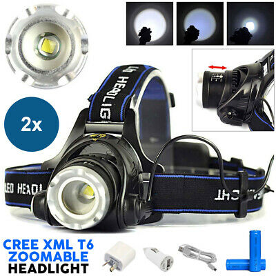 2x 21000LM LED Rechargeable Headlamp ZoomableHeadlight CREE XML T6 Head Torch