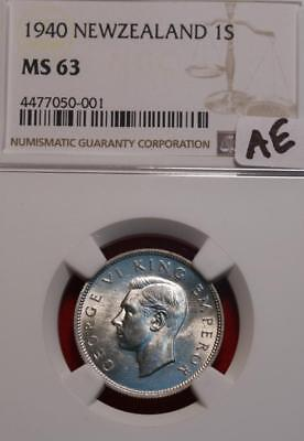 1940 New Zealand Shilling Silver Coin NGC Graded MS 63