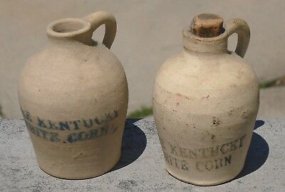 Antique Pair of Miniature Stone Wear Advertising Jugs-Pure Kentucky White Corn