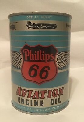 vintage oil can Phillips 66 Aviation motor Oil Can full