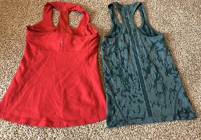 Lot Of 2 Womens Lululemon Athletica Red Green Tank Top Active Workout 6 8