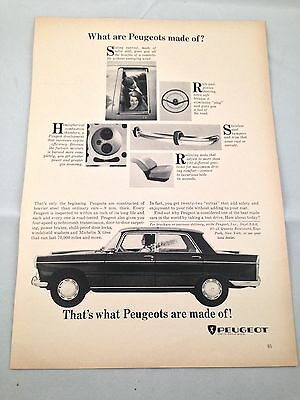Peugeot ~ What are Peugeots made of Vintage Car Automobile Print Ad Advertising