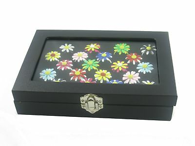 Glass Top Black Jewelry Ring Display Show Case Box Tray