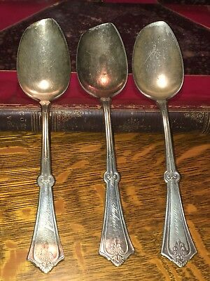 THREE Antique Lawrence B. Smith LB Silver SPOONS (one possibly Sterling Silver?)