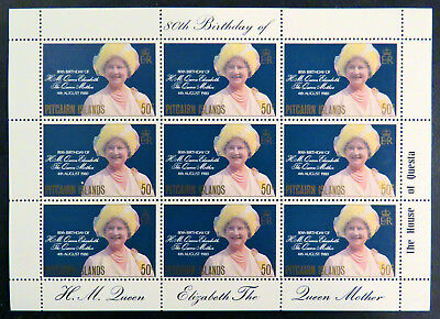 1980 Pitcairn Islands Stamps - Queen Mothers 80th Birthday - Mini Sheet MNH