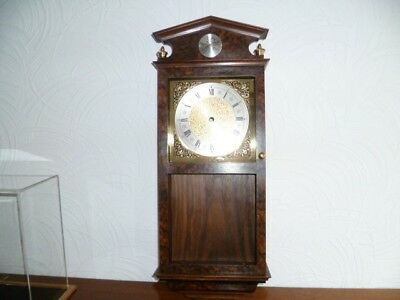 "Burr Walnut Wall Clock 26"" X 10"" X 4 1/2 ""  Hand Made"