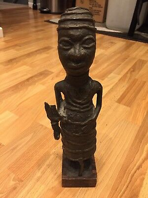 African Bronze Statue of Oba (King) Benin Nigeria West Africaw/COA from Gallery