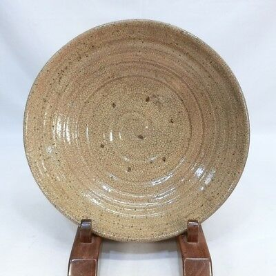 D160: Japanese old HAGI pottery big plate with good taste and atmosphere.