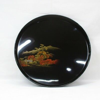 D057: Japanese old lacquered circular tray with wonderful TOGIDASHI-MAKIE. 4/9