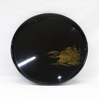 D170: Japanese old lacquered circular tray with wonderful TOGIDASHI-MAKIE. 7/9