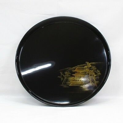 D171: Japanese old lacquered circular tray with wonderful TOGIDASHI-MAKIE. 8/9