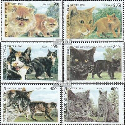 Congo Never Hinged 1996 Cats brazzaville 1451-1456 Unmounted Mint