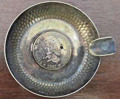 L@@k Ash Trays Set Brasil 1907 Ancient Silver Plated Coin Woow