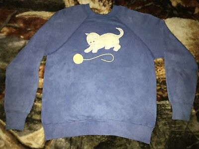 Vintage 80s FUZZY CAT Sweatshirt Medium Blue 50/50 Crewneck Sweater Kitten W:19""