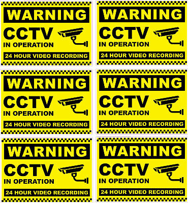 Security camera surveillance warning CCTV Stickers 6 Pack