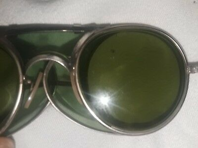 Vtge Bausch & Lomb 22 47 Green Tint Safety Goggles Motorcycle Steampunk Glasses